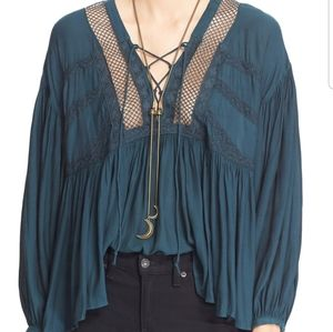 Free People Dark Teal Don't Let Go Peasant Blouse